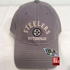 4aba5cfd949 Pittsburgh Steelers Reebok Youth Boy s Girl s Gray Relaxed Fit FlexFit Cap  Hat  Reebok  PittsburghSteelers