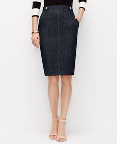 Edgestitched Denim Pencil Skirt   Ann Taylor
