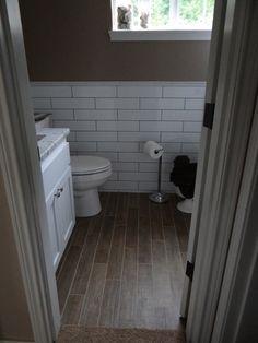 Wood Floor Bathroom Ideas Lovely Wood Tile Floor In the Bathroom Tile Floor that Looks Like Wood totally Awesome Wood Tile Bathroom Floor, Wood Tile Floors, Bathroom Tile Designs, Downstairs Bathroom, Master Bathroom, Bathroom Ideas, White Bathroom, Shower Tiles, Bathroom Photos