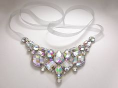 Simple Crystal AB Aurora Borealis Rhinestone Bib Necklace, Sparkling Jewels, Pageant and Prom Accessory