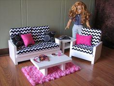 "18"" Doll Furniture - American Girl sized Living Room - Black/White/Hot Pink Chevron on Etsy, $170.00"