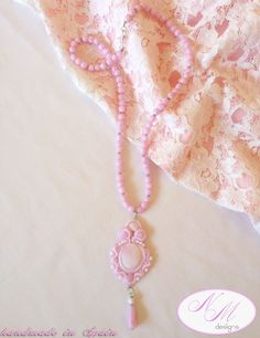 """""""Pink lace"""" NM Designs. Soutache with FIMO."""