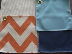 Orange Chevron fabric can be paired with aqua and navy in the nursery