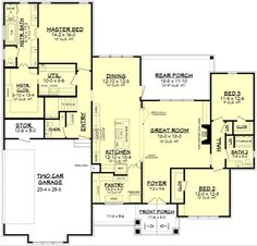 Stanton House Plan 2303 Sq ft 3 bed bath Craftsman features large open living area & oversized hidden pantry with desk and freezer space. The Master Suite. New House Plans, Dream House Plans, House Floor Plans, Stanton House, Hidden Pantry, Murphy Bed Plans, Craftsman Style House Plans, Craftsman Houses, Craftsman Cottage