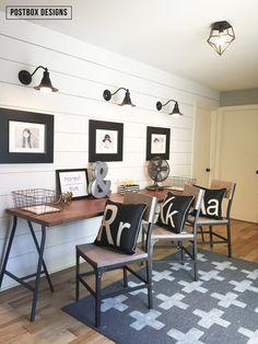 Farmouse style Kid's Homework Area by Postbox Designs, shiplap wall, Ikea desk, monogram pillows, DIY swiss cross rug,