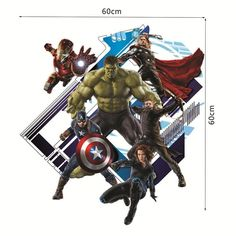 3D cartoon movie Captain america, the Hulk, the Avengers home decal wall sticker kids room decor