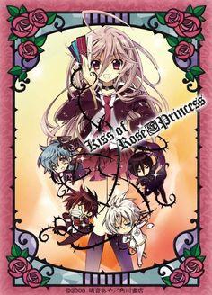 Barajou no Kiss.~ Rose Princess Anis, Red Rose Knight Kaede, Black Rose Knight Mutsuki, White Rose Knight Mitsuru, and Blue Rose Knight, Seiran.