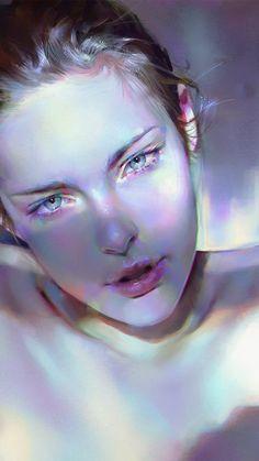 GIRL BLUE FACE SEXY PAINT ANIME ILLUSTRATION ART YANJUN CHENG WALLPAPER HD IPHONE