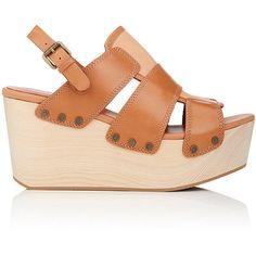 Derek Lam 10 Crosby Women's Heath Leather Platform-Wedge Sandals ($199) ❤ liked on Polyvore featuring shoes, sandals, slingback wedge sandals, high heel wedge sandals, wood platform sandals, platform shoes and wedge sandals