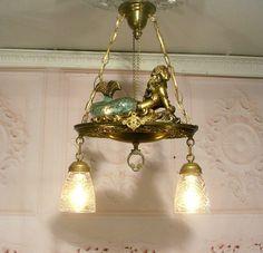 Fantastic Mermaid Nautical Chandelier Ceiling Light Fixture Lamp w Glass Shades