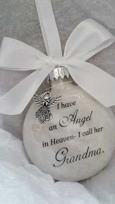 Grandma Memorial Ornament w/Charm Angel in Heaven I call her Grandma- Grandparent Loss Gift- Sympathy In Memory Keepsake Christmas BaublePapa Memorial Ornament Weihnachtsengel im Himmel rufe ich ihnWho doesn't Completely love a Thoughtful Homemade So Memorial Ornaments, Memorial Gifts, Christmas Baubles, Diy Christmas Ornaments, How To Make Ornaments, Homemade Christmas, Diy Christmas Gifts, Holiday Crafts, Angel Ornaments