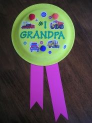 Write #1 Grandpa on Ribbon with picture of him and kids on main part