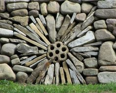 Dry stone wall in dandelion design by George Weaver.