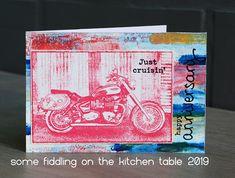 Darkroom Door Motorcycle Photo Stamp. Card by Anneke De Clerck.