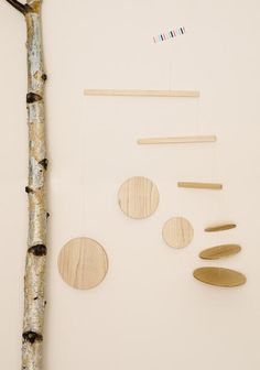 Frazier and Wing handmade wooden mobile in maple. Love her work.