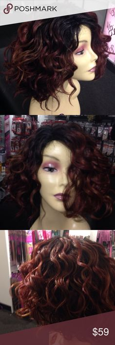 #Wig wine/brownish ombre heat resistant New Adjustable cap heat resistant popular seller this is an ombre dark roots with wine brown highlighted lowlights short curly wig Accessories Hair Accessories