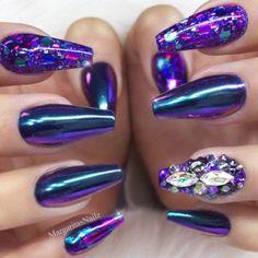 purple-nails-designs-coffin-chrome-glitt  #nails #nailart #naildesign - credits to the artist