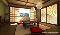 Japanese Living Room:  Love the design, but the seating arrangement would have to be different