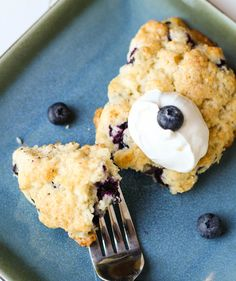 Blueberry Scones - Ingredients 2 cups all-purpose flour 1 tablespoon baking powder ½ teaspoon salt 4 tablespoons sugar 5 tablespoons unsalted butter, cold, cut in chunks 1 tsp vanilla 1 cup fresh blueberries 1 cup heavy cream, plus more for brushing the scones Raw sugar for sprinkling on top of scones.