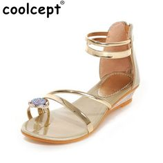 787446468 13.76$ Buy here - ladies sandals flats summer shoes women summer bohemia  style rhinestone zipper flat flip flops women shoes P23529 size 35-39  #bestbuy
