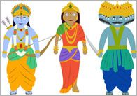Document featuring images of the main characters from one of the Diwali stories. Contains images of: Rama, Sita, Ravana, Hanuman, Lakshmana and the golden deer. Multicultural Activities, Diwali Activities, Preschool Activities, Bonfire Night Activities, Diwali Story, Diwali For Kids, Diwali Images, Hindu Culture, Celebration Around The World