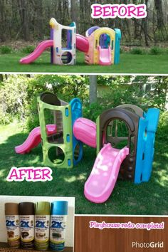 I love the bright colors used on this Plastic Playground Makeover and Little Tikes and Upcycle Ideas on Frugal Coupon Living - Recycle your kids toys and turn them into something fun and new!