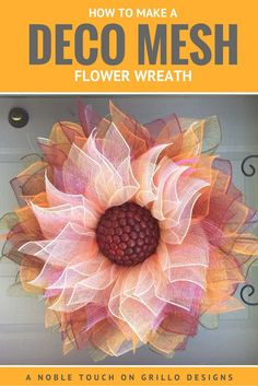 how to make a deco mesh flower wreath / Grillo Designs www.How To Make A Deco Mesh Flower Wreath. This would add a beautiful personalized touch to a funeral service for her - especially if she was a flower lover.Making a Flower Deco Mesh Wreath has n Deco Mesh Crafts, Wreath Crafts, Diy Wreath, Wreath Burlap, Wreath Ideas, Wreath Making, Deco Mesh Wreath Tutorial, Diy Crafts, Deco Mesh Wreaths