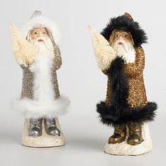 One of my favorite discoveries at WorldMarket.com: Paper Pulp Santas with Faux Fur Set of 2