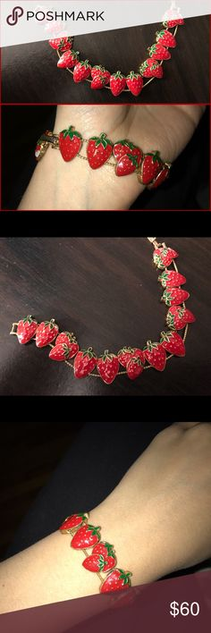 Strawberry fields vintage✨70s✨gold bracelet Super gorgeous strawberry gold clasp bracelet one size can fit a small wrist as modeled looser or a large wrist for a smaller fit ✨❤️️ gold enameled chain clasp bracelet won't tarnish and vintage treasure my mom has kept since the 70s ✨ great Christmas gift and timeless piece ❤️️ not free people tags: Kawaii vintage thrift 70s 80s 90s babydoll dollskill omighty brandy nasty gal Free People Jewelry Bracelets