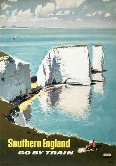 Southern England, Go by Train, British Railways Southern Region travel poster, 1960.