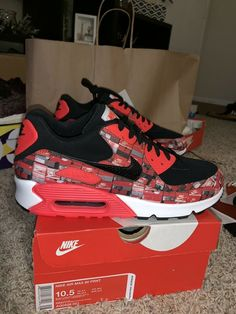 sale retailer f657c 46486 NIKE AIR MAX 90 PRNT Mens Sz 10.5 WE LOVE NIKE AQ0926-001 BLACK CRIMSON   fashion  clothing  shoes  accessories  mensshoes  athleticshoes (ebay link)