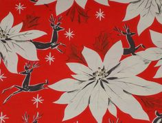VTG CHRISTMAS WRAPPING PAPER GIFT WRAP REINDEER POINSETTIA 1940 WW2 | eBay