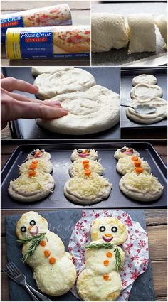 Mini Snowman Pizzas - we are so making these on Christmas Eve (with homemade pizza dough)