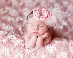 Shabby Chic Light Pink Satin Flower Headband and by Whitesuggar, $16.95