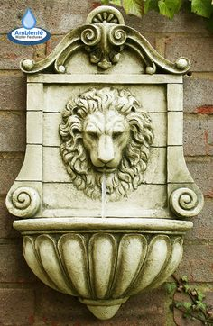 Wall Mounted Victorian Lion Head Water Feature Drinking Fountain Stone Effect Stone Water Features, Indoor Water Features, Water Features In The Garden, Garden Water Fountains, Water Garden, Wall Fountains, Outdoor Fountains, Stone Fountains, Pool Water