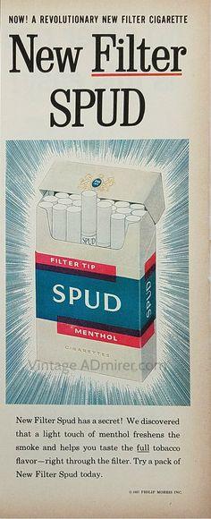 1957 Spud Cigarettes Vintage Ad