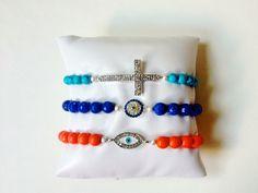 Beaded Bracelet SET 3 in Blue and Orange Evil Eye Sideways Cross