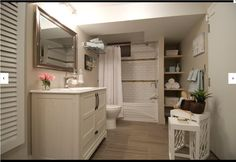 Love the hidden shelves and the vanity