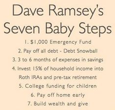 Dave Ramsey's 7 Baby Steps – Finance tips, saving money, budgeting planner Financial Peace, Financial Tips, Financial Planning, Financial Literacy, Money Tips, Money Saving Tips, Saving Ideas, Mo Money, Money Fast