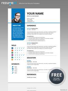 Ikebukuro Free Elegant Resume Template Blue For Ms Word  Resume