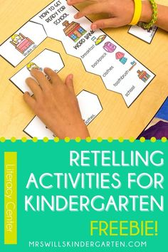 Your kindergarteners will love this retelling center! Fun themes for each month make this a literacy center you can use all year long! Click the image to try out the free sample! Retelling Activities, Sight Word Activities, Alphabet Activities, Kindergarten Freebies, Kindergarten Centers, Literacy Centers, Literacy Programs, Balanced Literacy