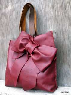 NEED THIS!!!   Leather Bow Tote Bag in Dark Red