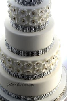 Wedding Cake with a little bling https://www.facebook.com/pages/Carlas-Cake-Creations/63169956713?ref=hl