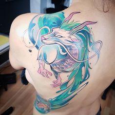 Ramón on Juan Pablo Molina > Haku (Spirited Away) Irezumi Tattoos, Tatuajes Irezumi, Tribal Tattoos, Geisha Tattoos, Marquesan Tattoos, Badass Tattoos, Sexy Tattoos, Body Art Tattoos, Girl Tattoos
