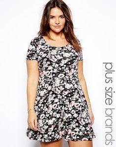 New Look Inspire Floral Print Skater Dress