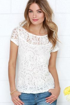 ivory lace top / lulu's