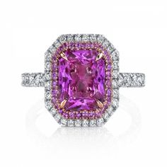 Beautifully subtle mix of metals - Omi Prive: Pink Sapphire and Diamond Ring Pink Sapphire Ring, Sapphire Jewelry, Pink Diamonds, Custom Made Engagement Rings, Pink Jewelry, Gold Jewellery, Pink Bling, Schmuck Design, Diamond Are A Girls Best Friend