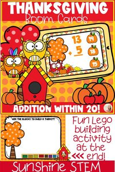 Happy Thanksgiving! Your students will love this huge, fall-themed deck filled with owls to celebrate Thanksgiving while practicing addition within 20! Cute pictures of apple pie, pumpkins, and of course lots of adorable little owls help your students practice! ❤❤ BONUS - after students complete the deck they are in for a fun surprise! Students use digital Legos to create their own turkey! Your students will beg for more!!!!! ❤❤