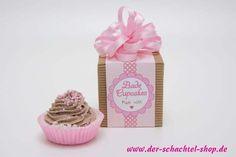 Bade-Cupcakes schön verpacken. Free printable und Rezept! www.der-schachtel-shop.de