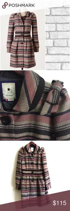 """Anthropologie Coat ▫️Only one with an acute sense of lines and texture could have created this charismatic coat, whose bold stripes are a lovely contrast to its traditional styling.  Anthropologie By Elevenses ▫️Front pockets ▫️Button closure ▫️Wool, acrylic; acetate lining ▫️Great Preowned Condition  ▫️Regular: 37""""L Anthropologie Jackets & Coats Pea Coats"""